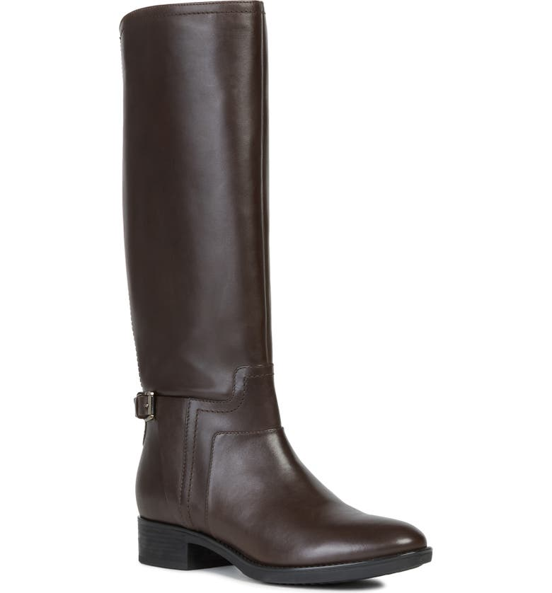 GEOX Felicity Knee High Boot, Main, color, COFFEE LEATHER