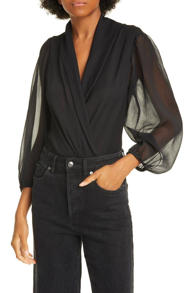 RODEBJER Serenity Faux Wrap Bodysuit, Main, color, BLACK