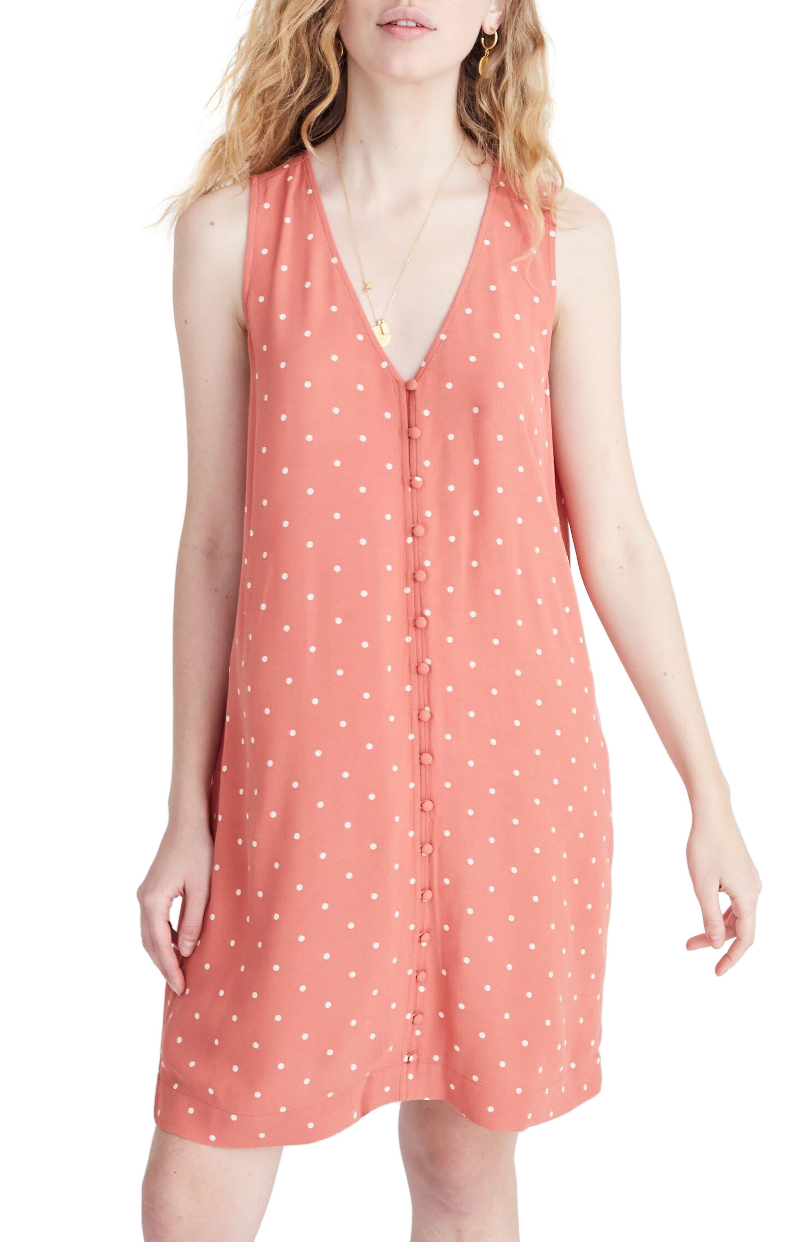Madewell Polka Dot Heather Button Front Dress, Orange