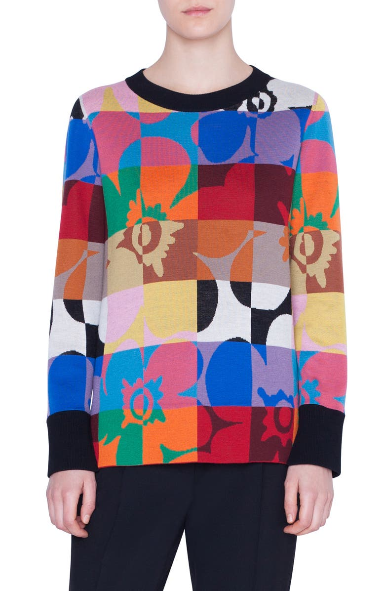 AKRIS PUNTO Floral Square Jacquard Sweater, Main, color, XL FLORAL SQUARED BLACK