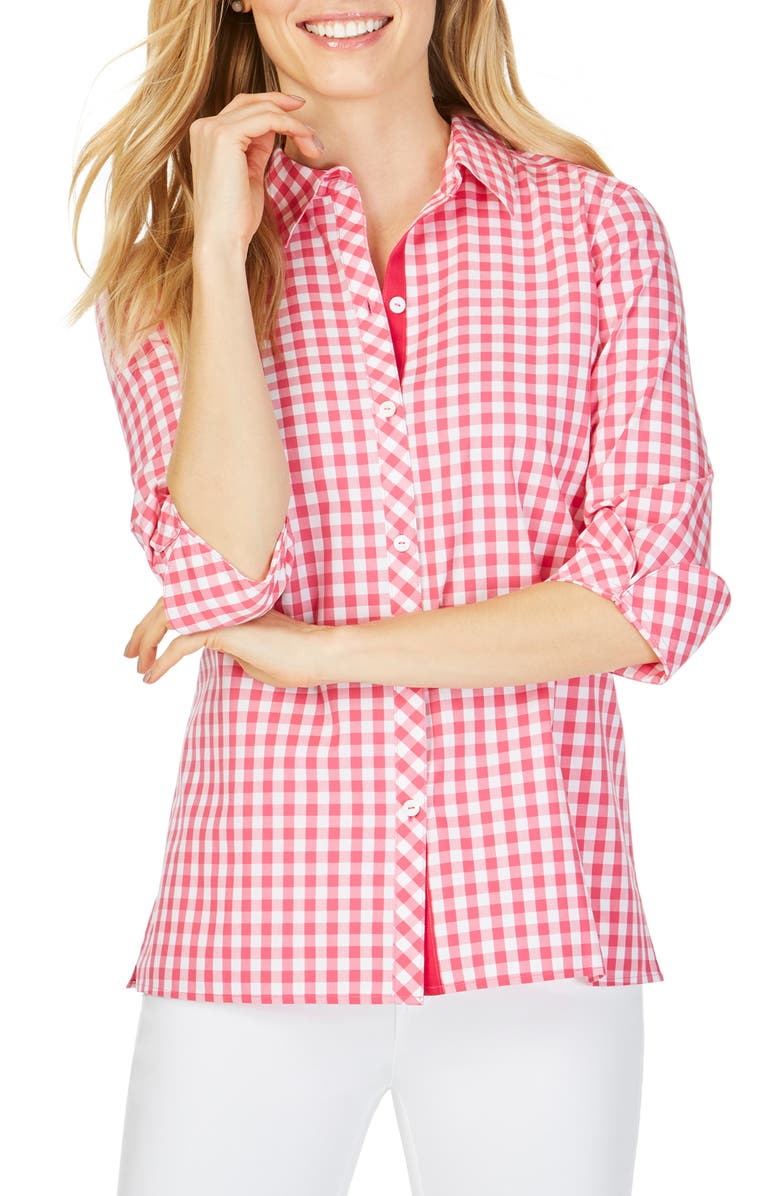 FOXCROFT Morgan Sweet Gingham Cotton Blouse, Main, color, FLAMINGO