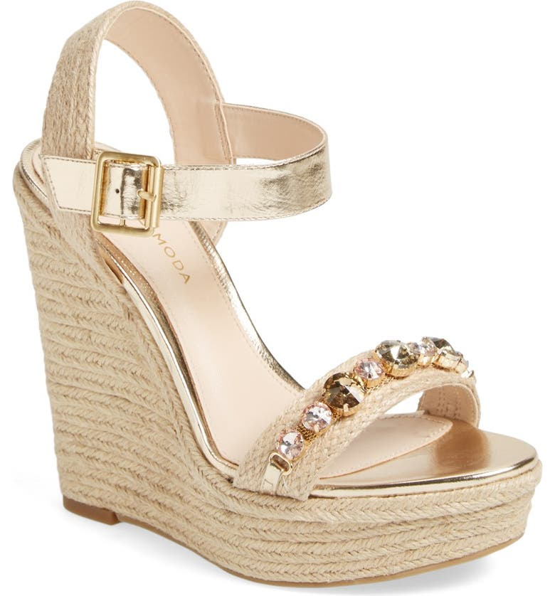 PELLE MODA 'Oates' Crystal Embellished Espadrille Wedge Sandal, Main, color, 710