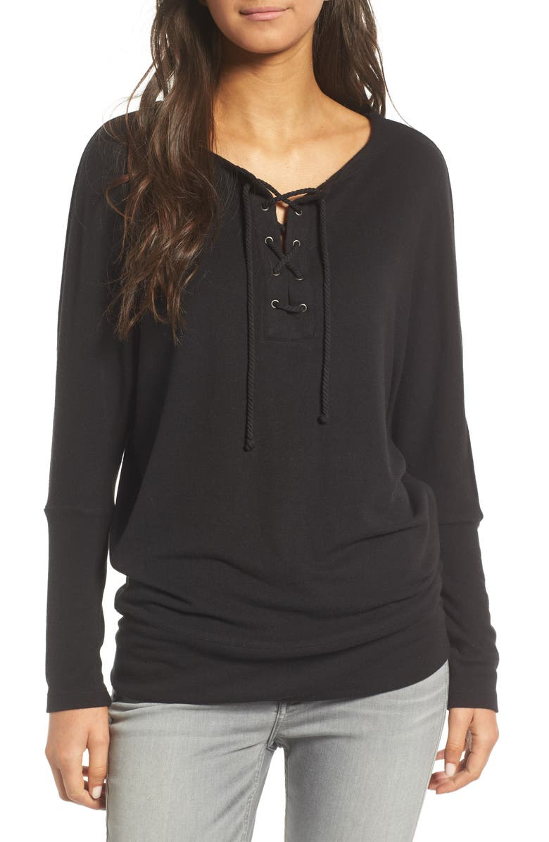 CUPCAKES AND CASHMERE Danton Lace-Up Sweatshirt, Main, color, 001
