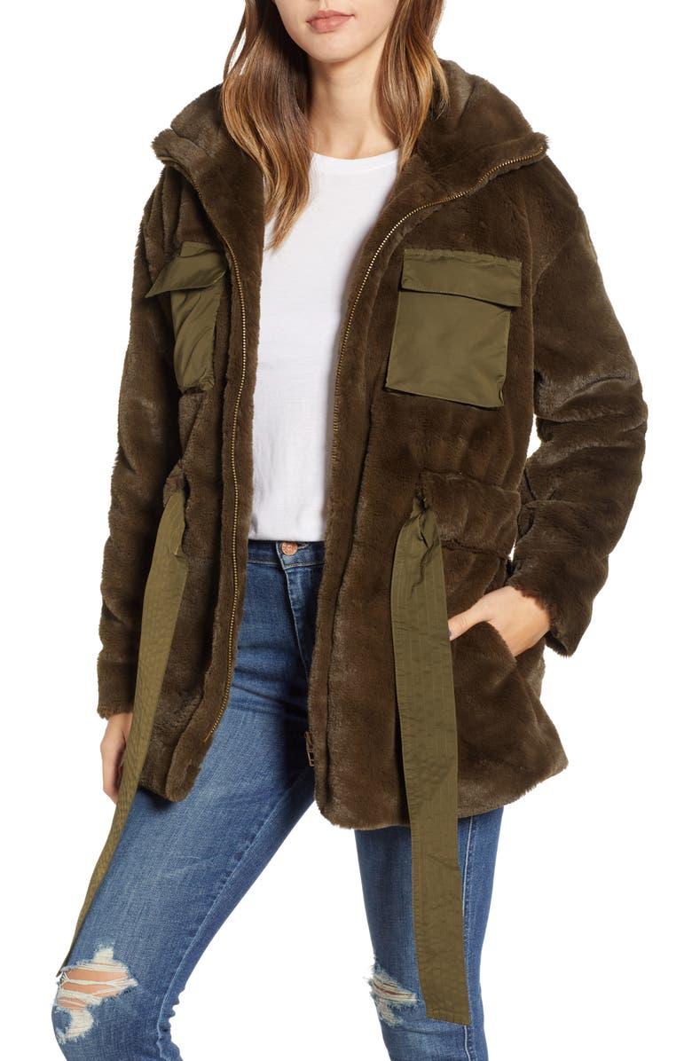 BLANKNYC Faux Fur Anorak, Main, color, 300