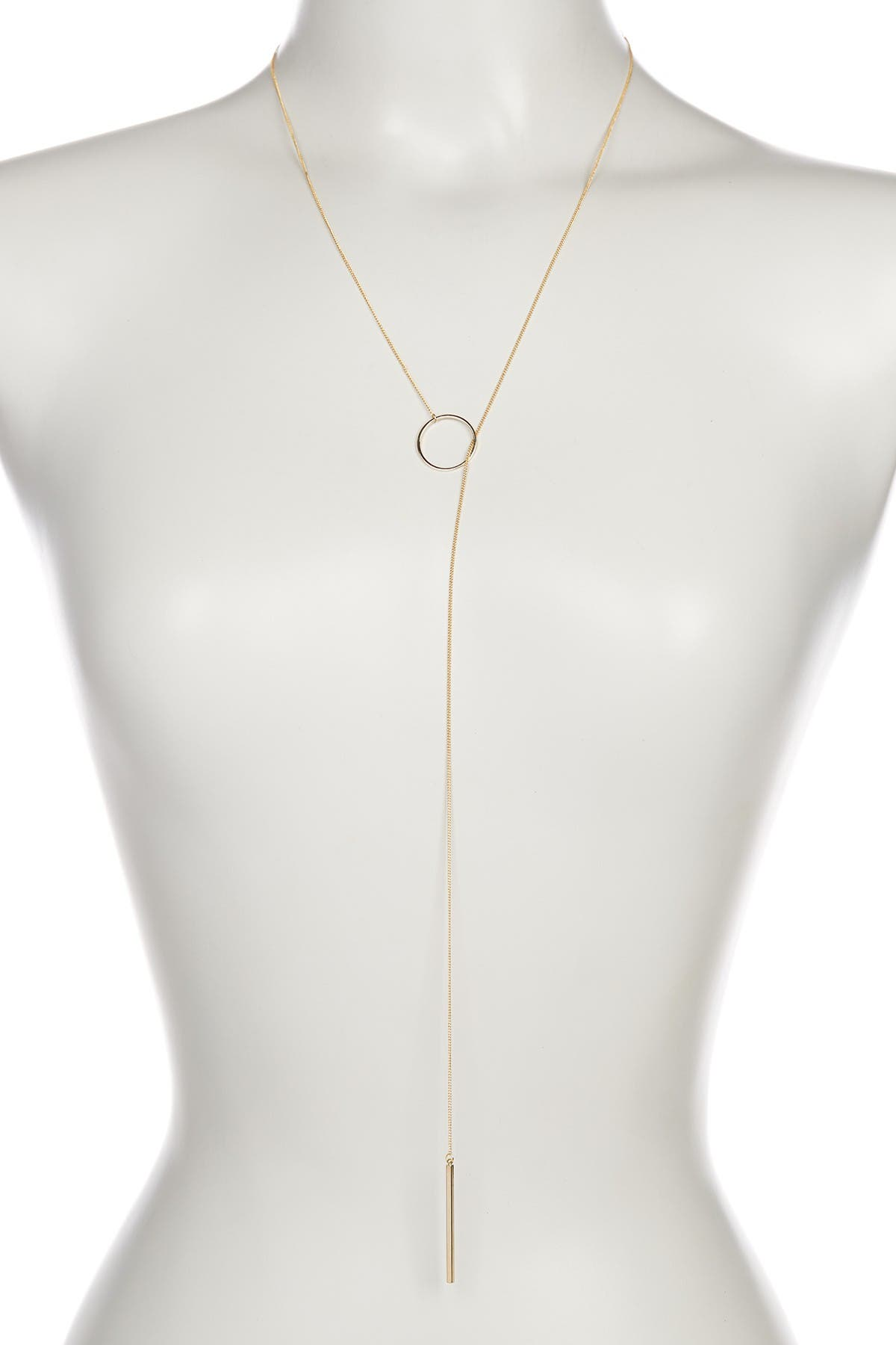 Sterling Forever Layering Circle & Bar Lariat Necklace