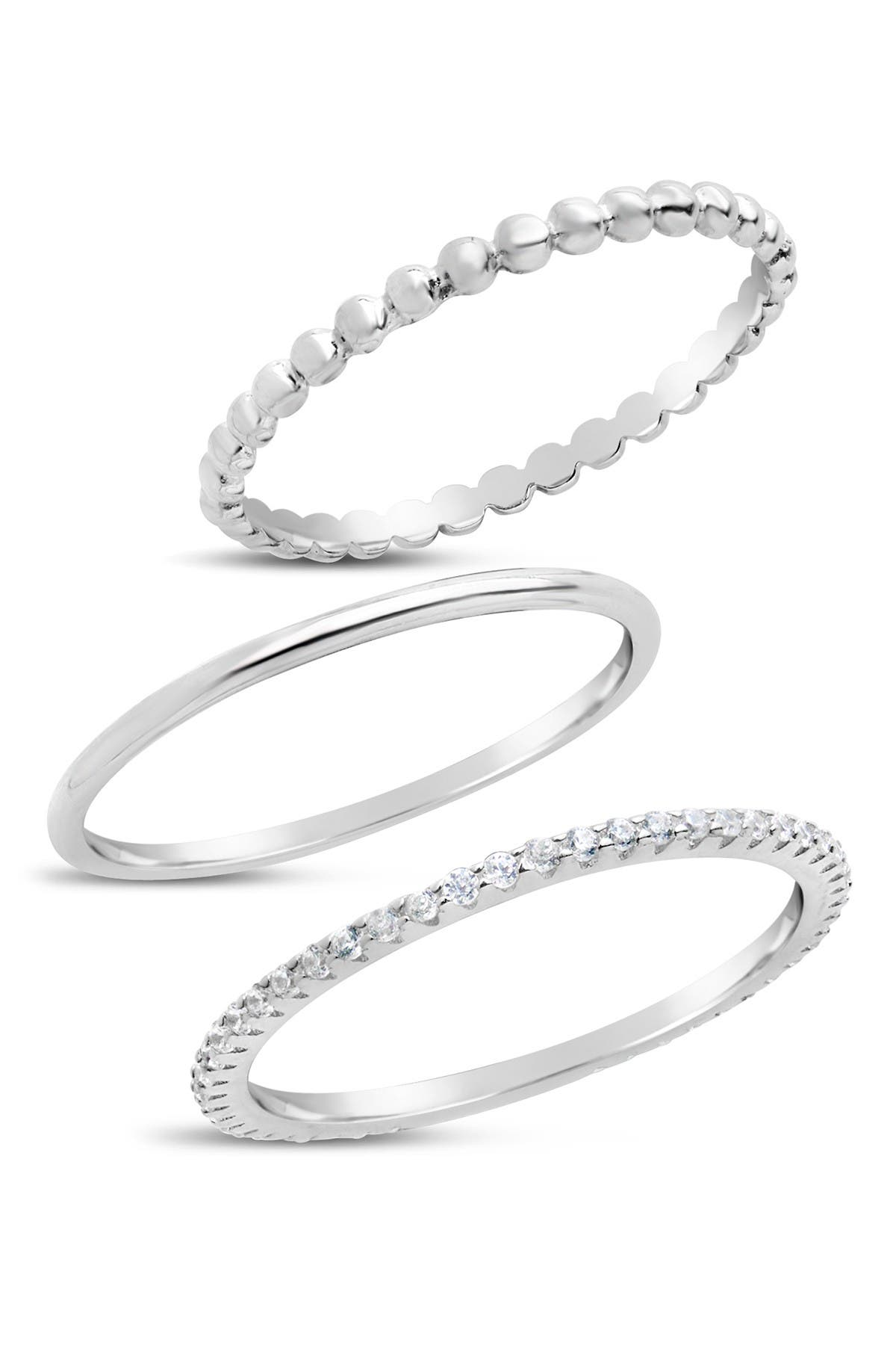 Gold and Silver Textured Stacking Ring Set-14K Gold and Sterling Silver Stackers with Twist /& Beaded Band-Three Stacking Bands Hammered
