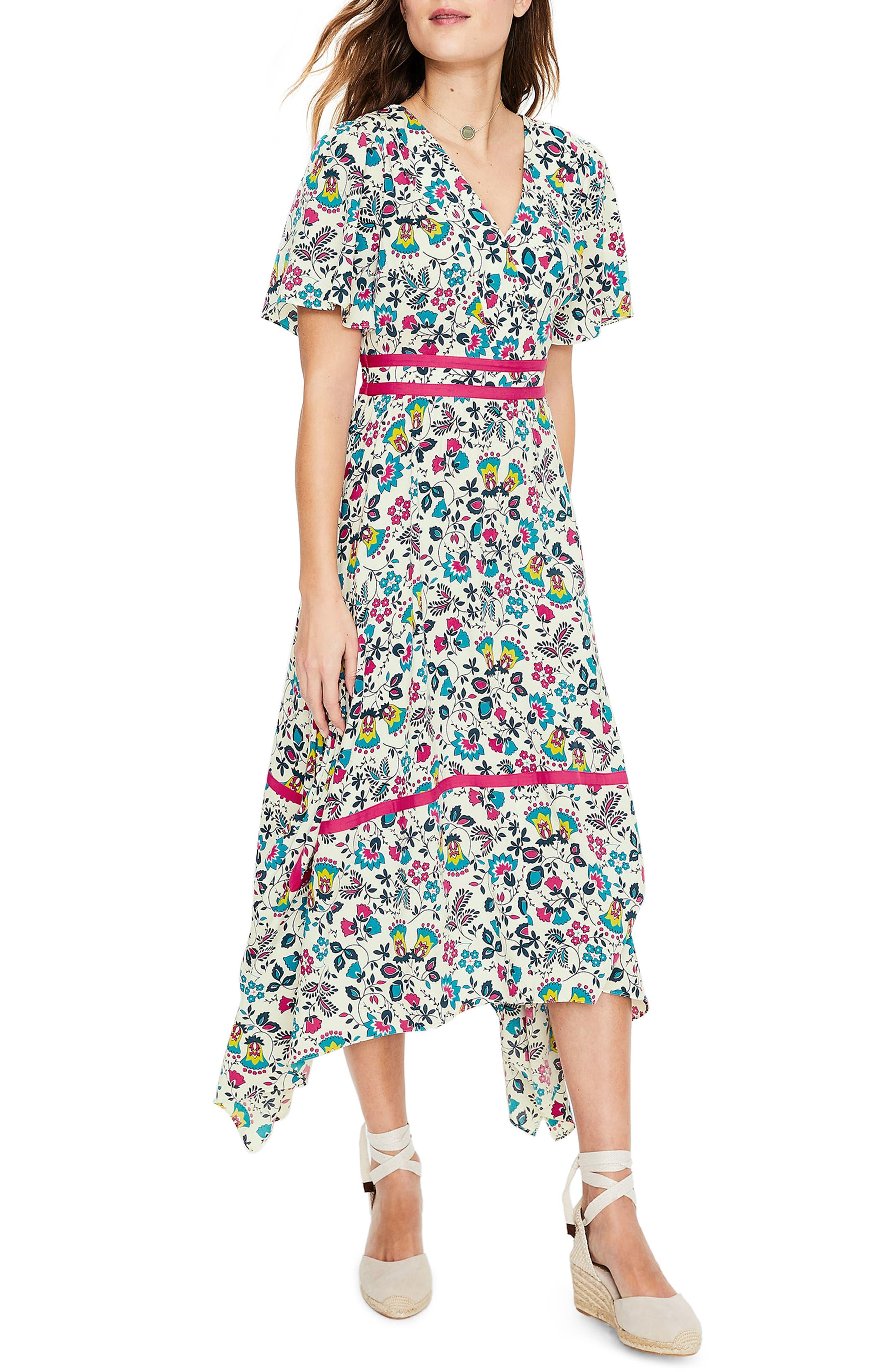 Boden Holly Handkerchief Hem Midi Dress, Ivory