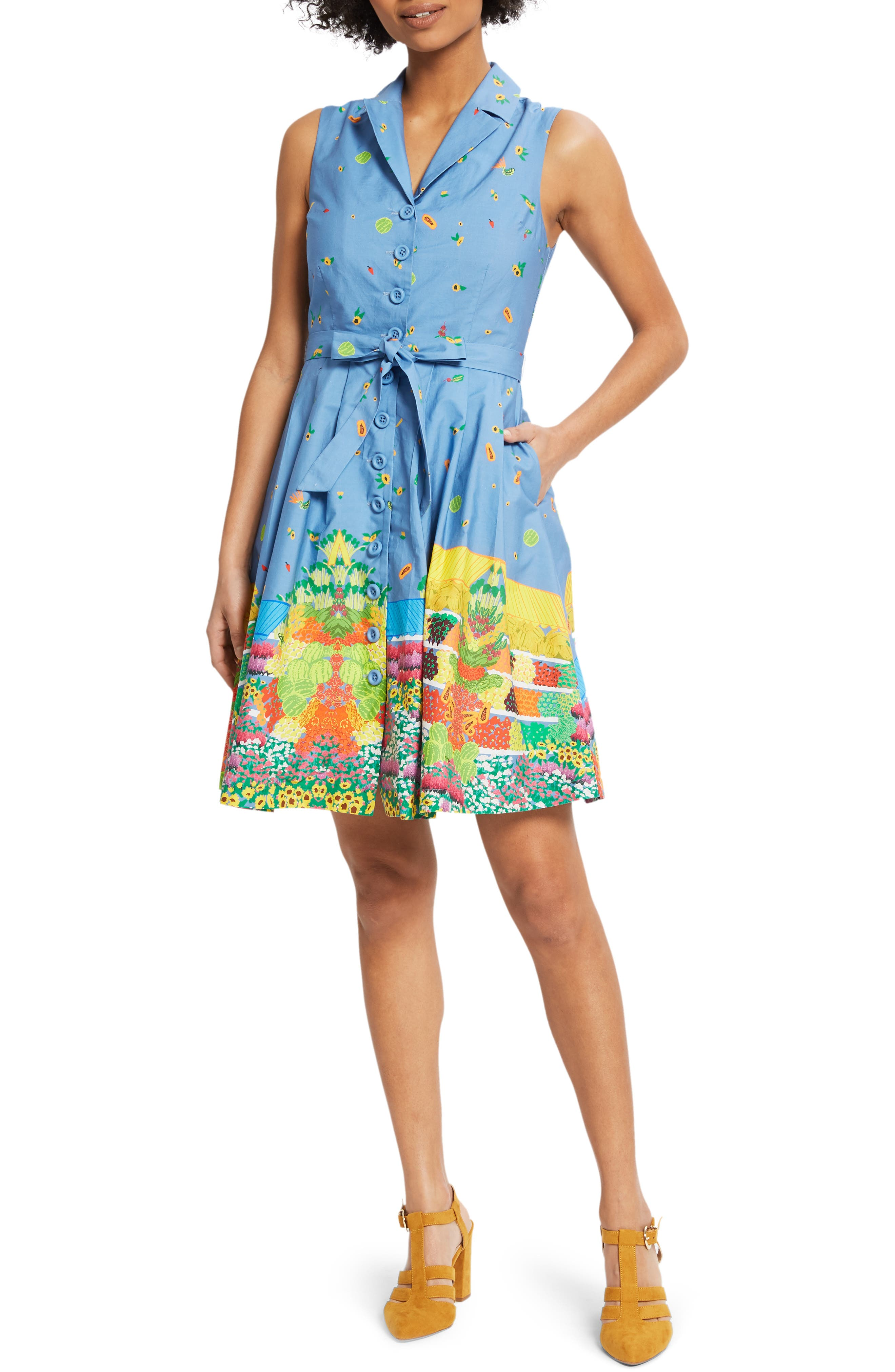 ,                             Community Brunch Sleeveless Cotton Shirtdress,                             Main thumbnail 1, color,                             420