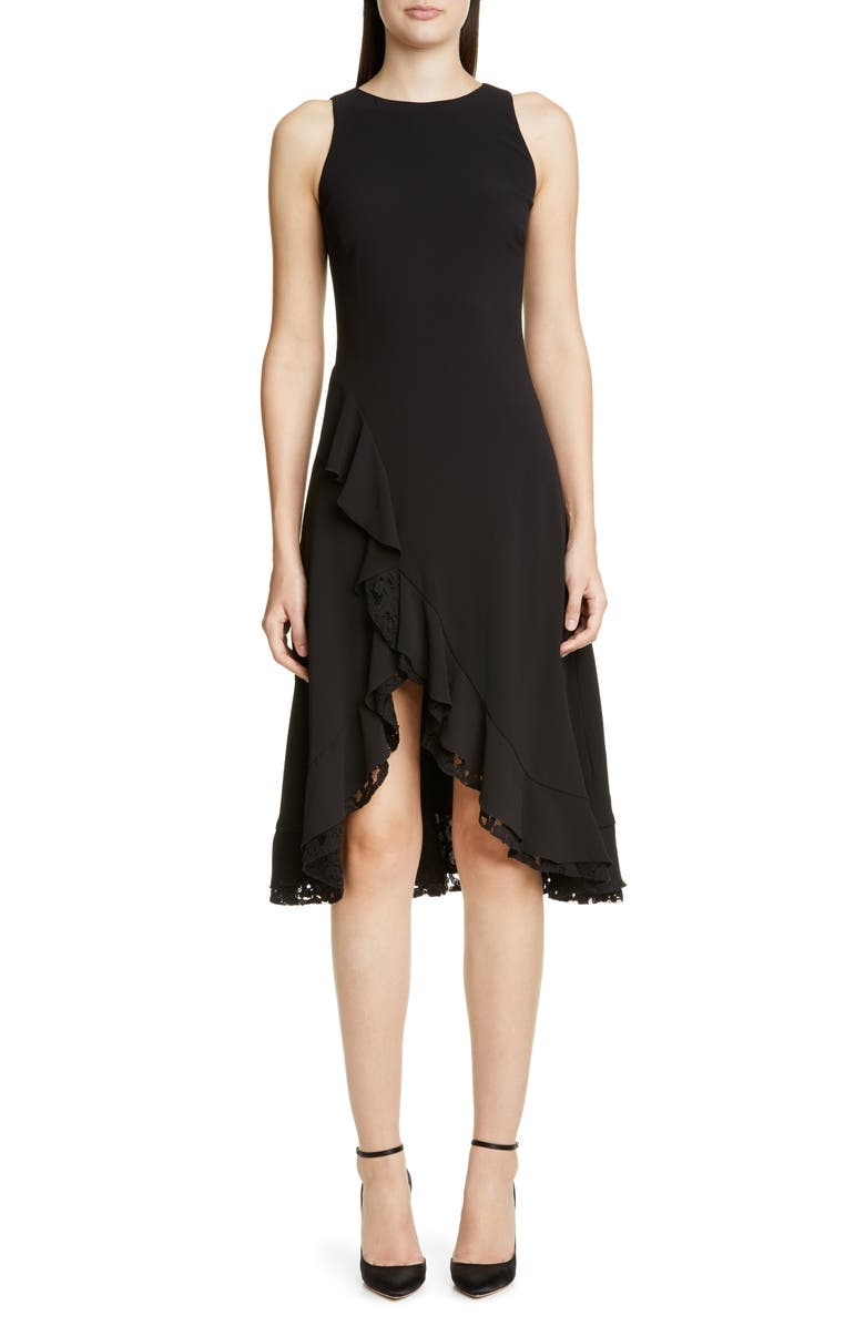 ZAC ZAC POSEN Janice Ruffle Cocktail Dress, Main, color, BLACK