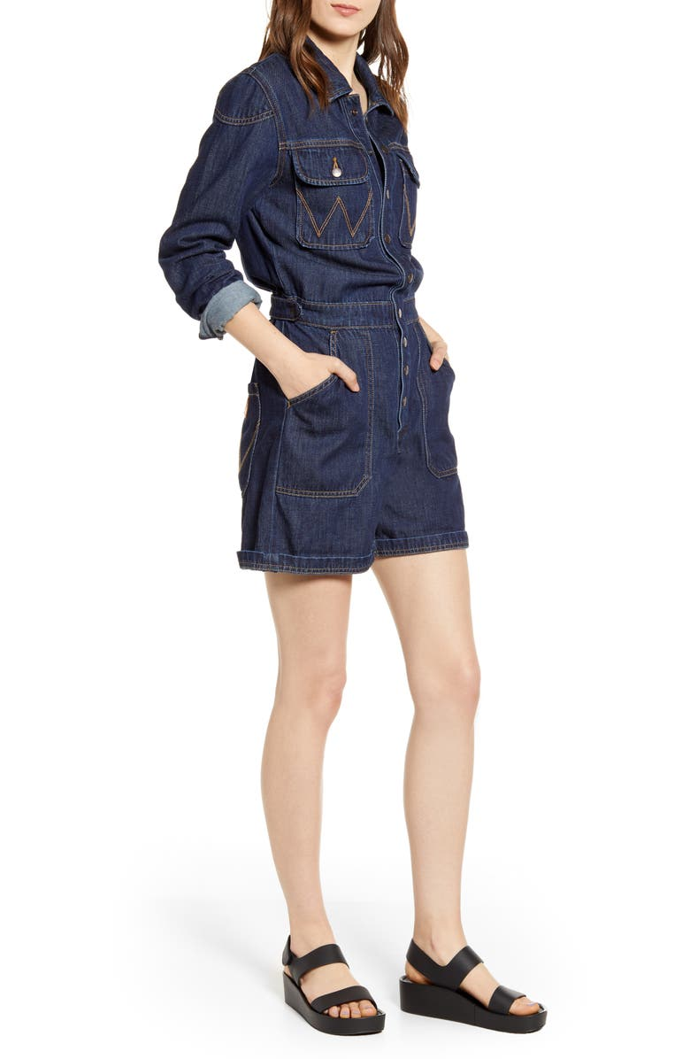 WRANGLER Long Sleeve Denim Romper, Main, color, 400