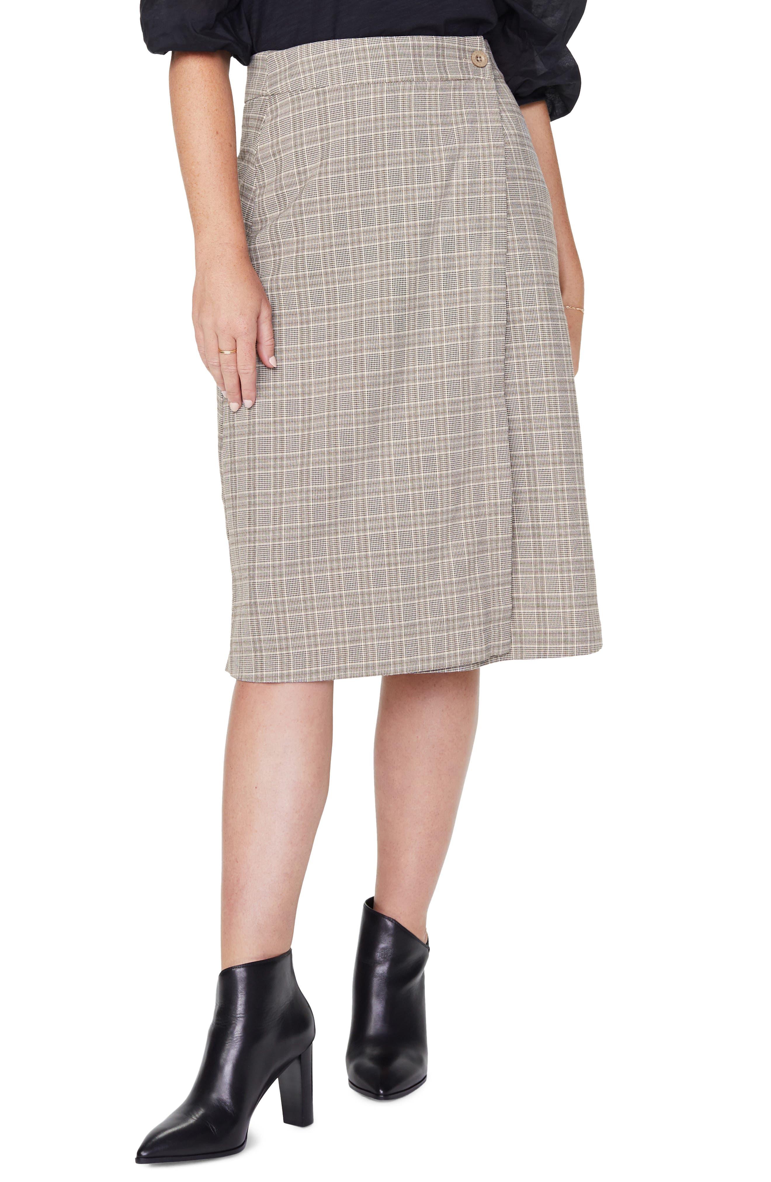 Image of NYDJ Plaid Wrap Midi Skirt