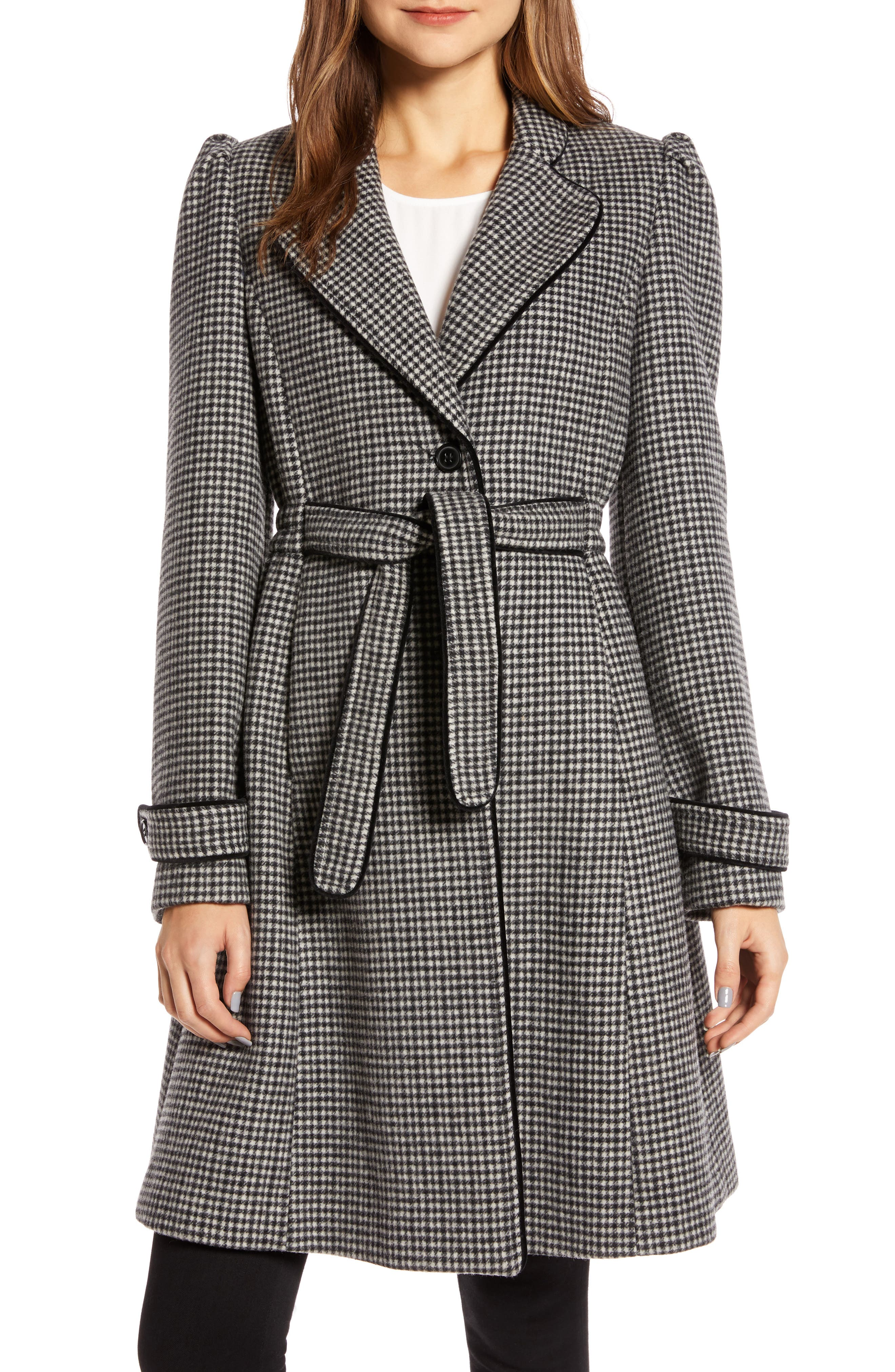 1940s Coats & Jackets Fashion History Womens Gal Meets Glam Collection Minicheck Wool Blend Coat $137.49 AT vintagedancer.com