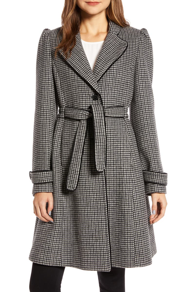 GAL MEETS GLAM COLLECTION Minicheck Wool Blend Coat, Main, color, BLACK/ WHITE
