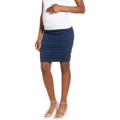 Angel Maternity Over The Belly Ruched Maternity Skirt, Blue