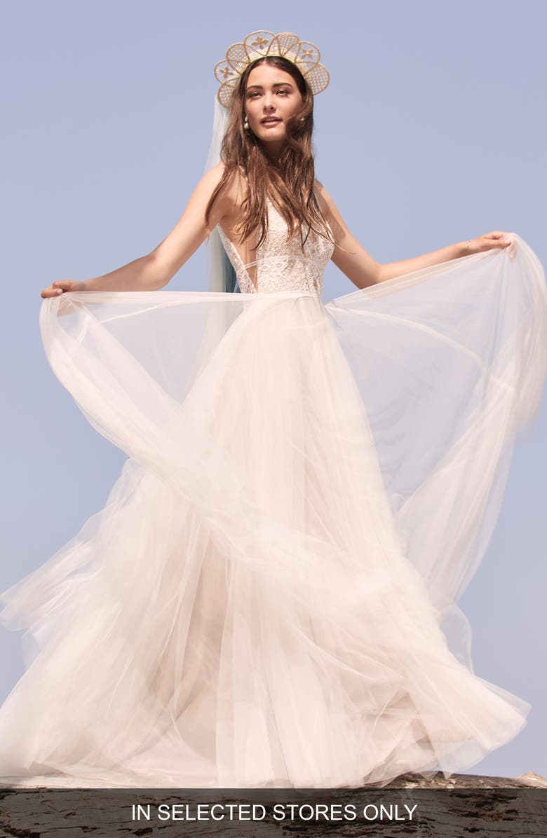 WILLOWBY Delena Lace & Tulle Wedding Dress, Main, color, IVORY/LATTE