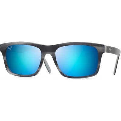 Maui Jim Waipio Valley 57Mm Polarized Sunglasses - Blue Grey Horn W/ Do