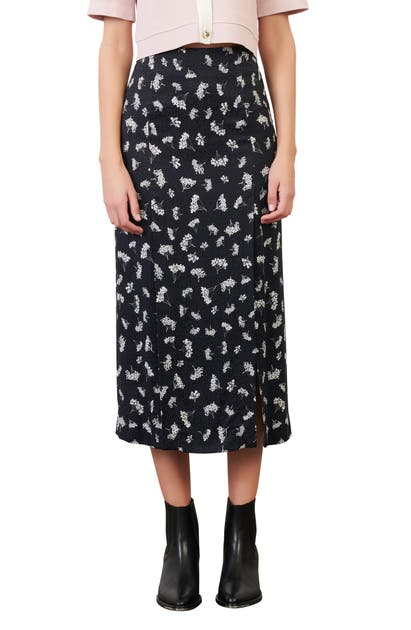 Maje FLORAL SIDE SLIT MIDI SKIRT