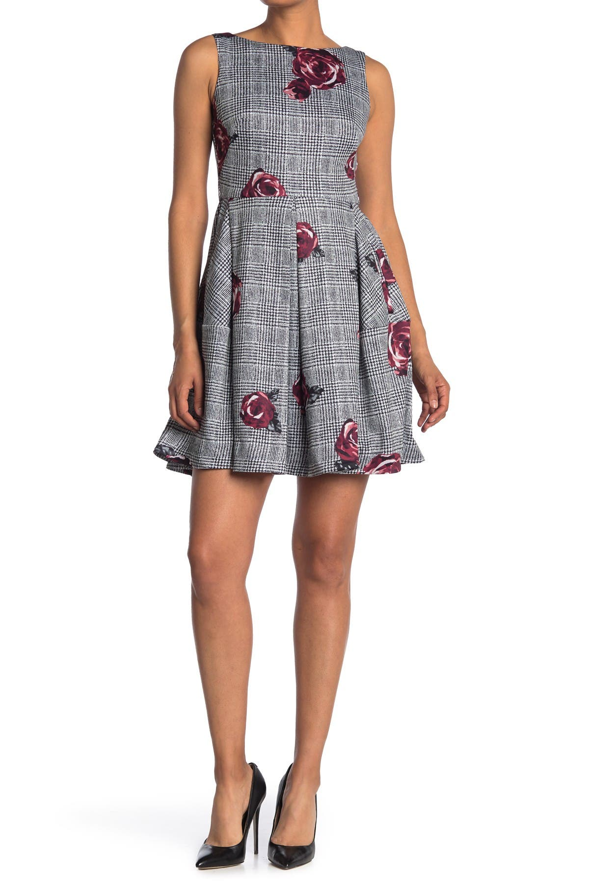 Image of Taylor Fit & Flare Plaid Floral Dress