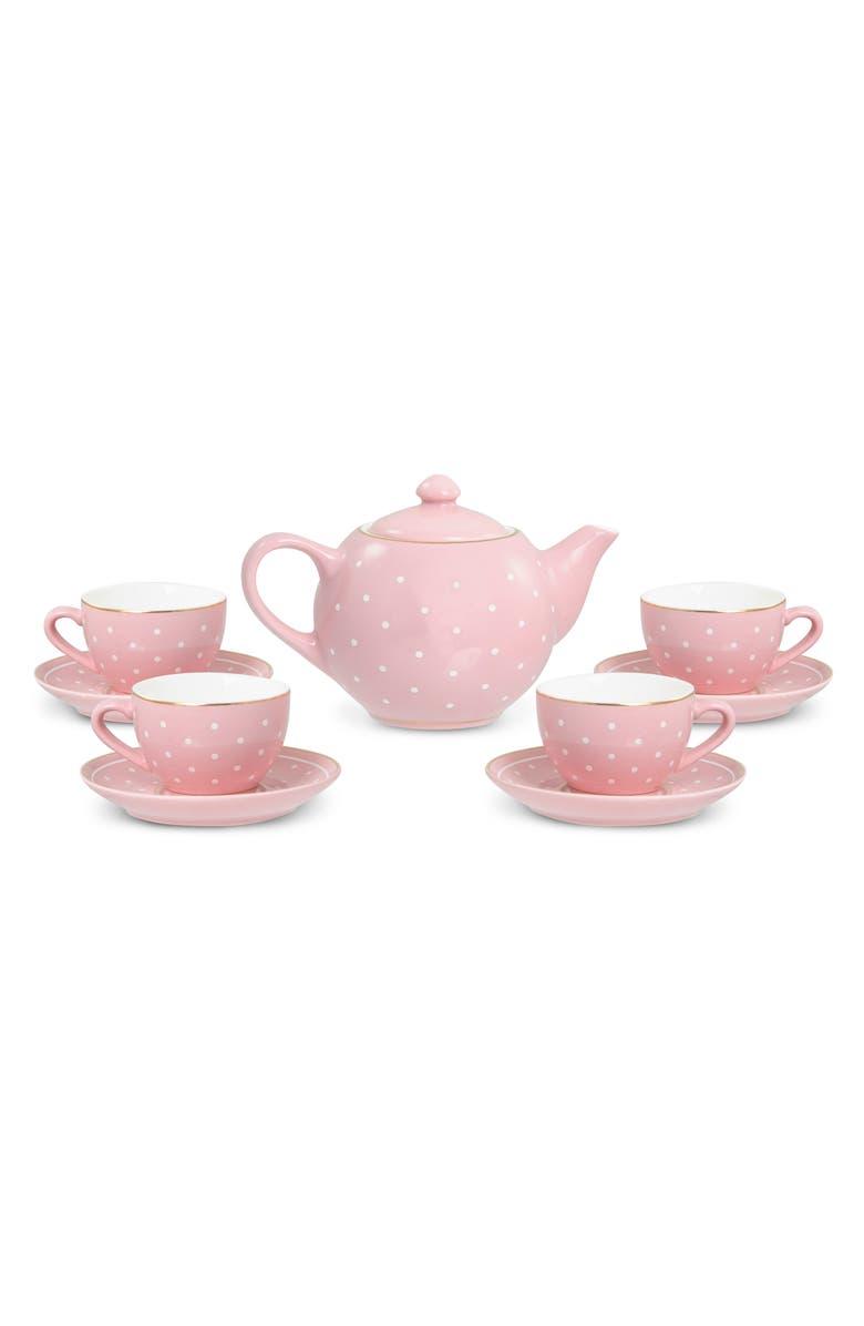 FAO SCHWARZ 10-Piece Glazed Ceramic Tea Set, Main, color, PINK