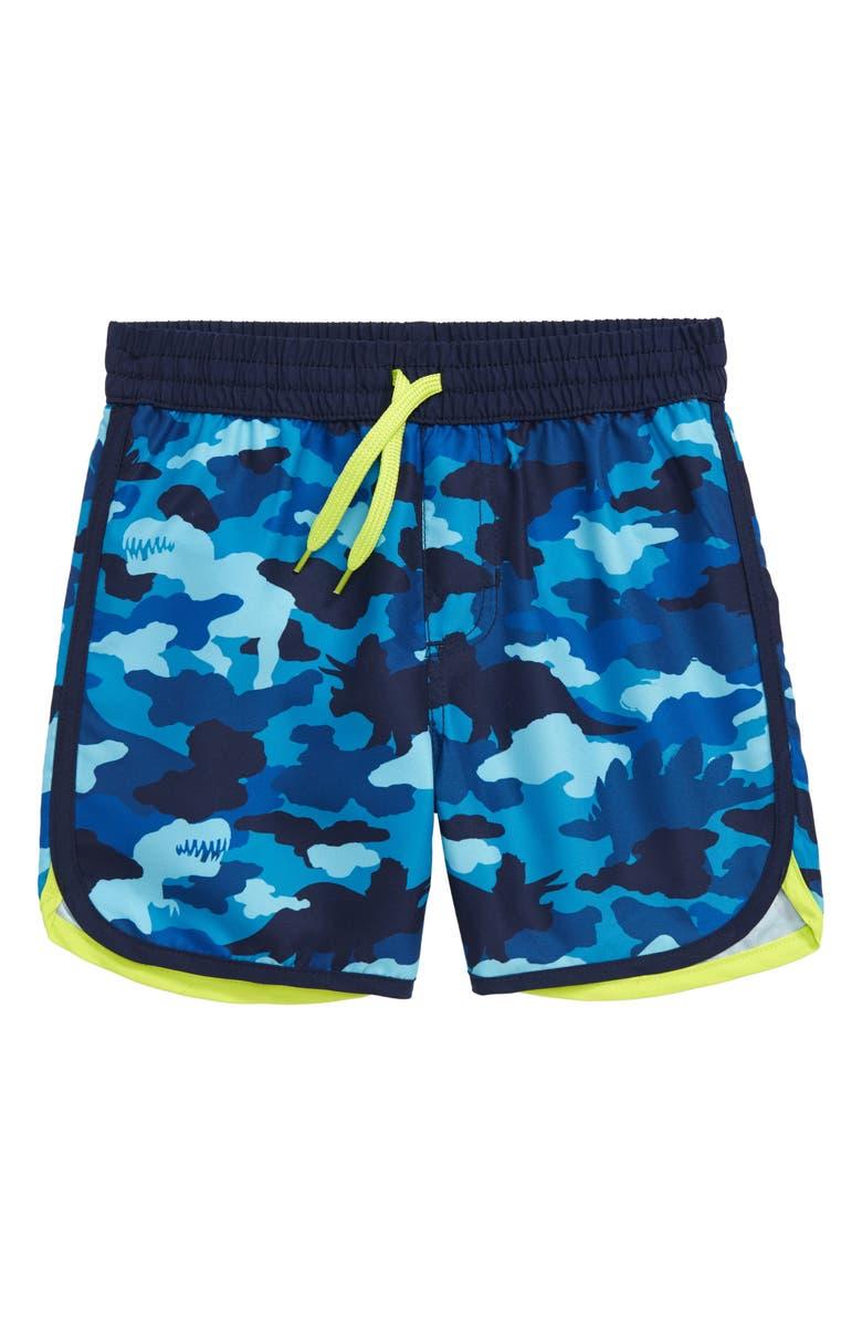 HATLEY Dino Camo Swim Trunks, Main, color, BLUE