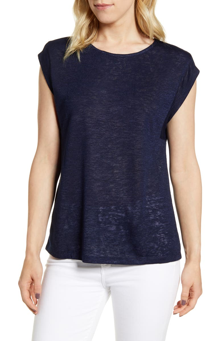 BOBEAU Cap Sleeve Knit Top, Main, color, NAVY-SOLID