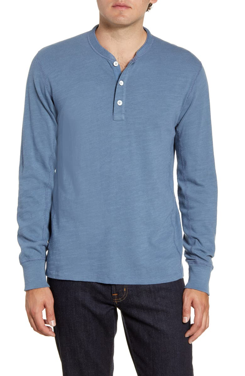 RAG & BONE Slub Cotton Slim Fit Henley, Main, color, SMOKE BLUE