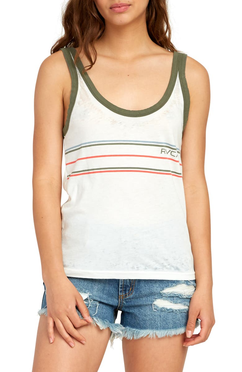 RVCA Another Stripe Tank, Main, color, OFF WHITE
