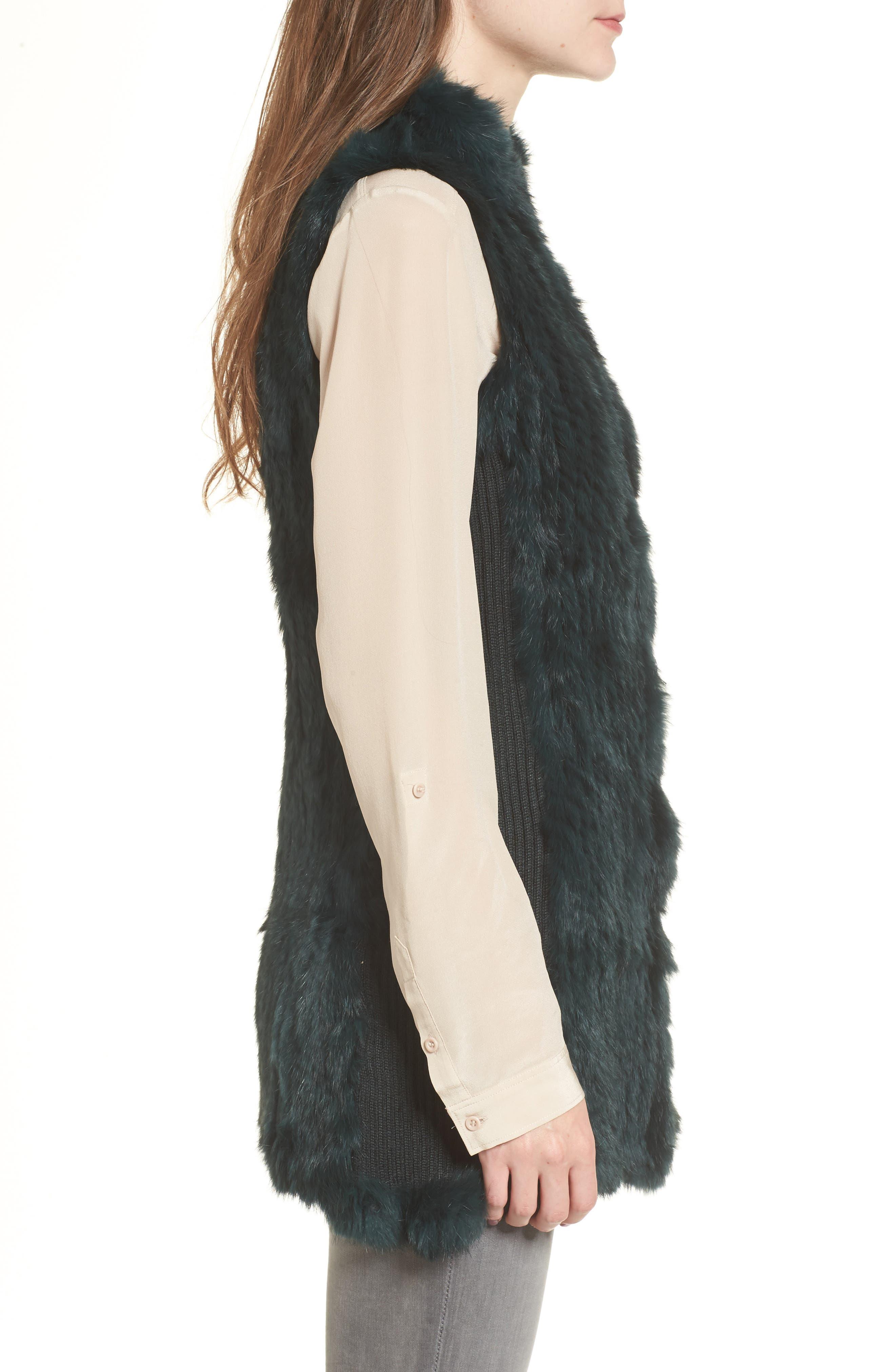 ,                             Genuine Rabbit Fur & Knit Vest,                             Alternate thumbnail 9, color,                             305
