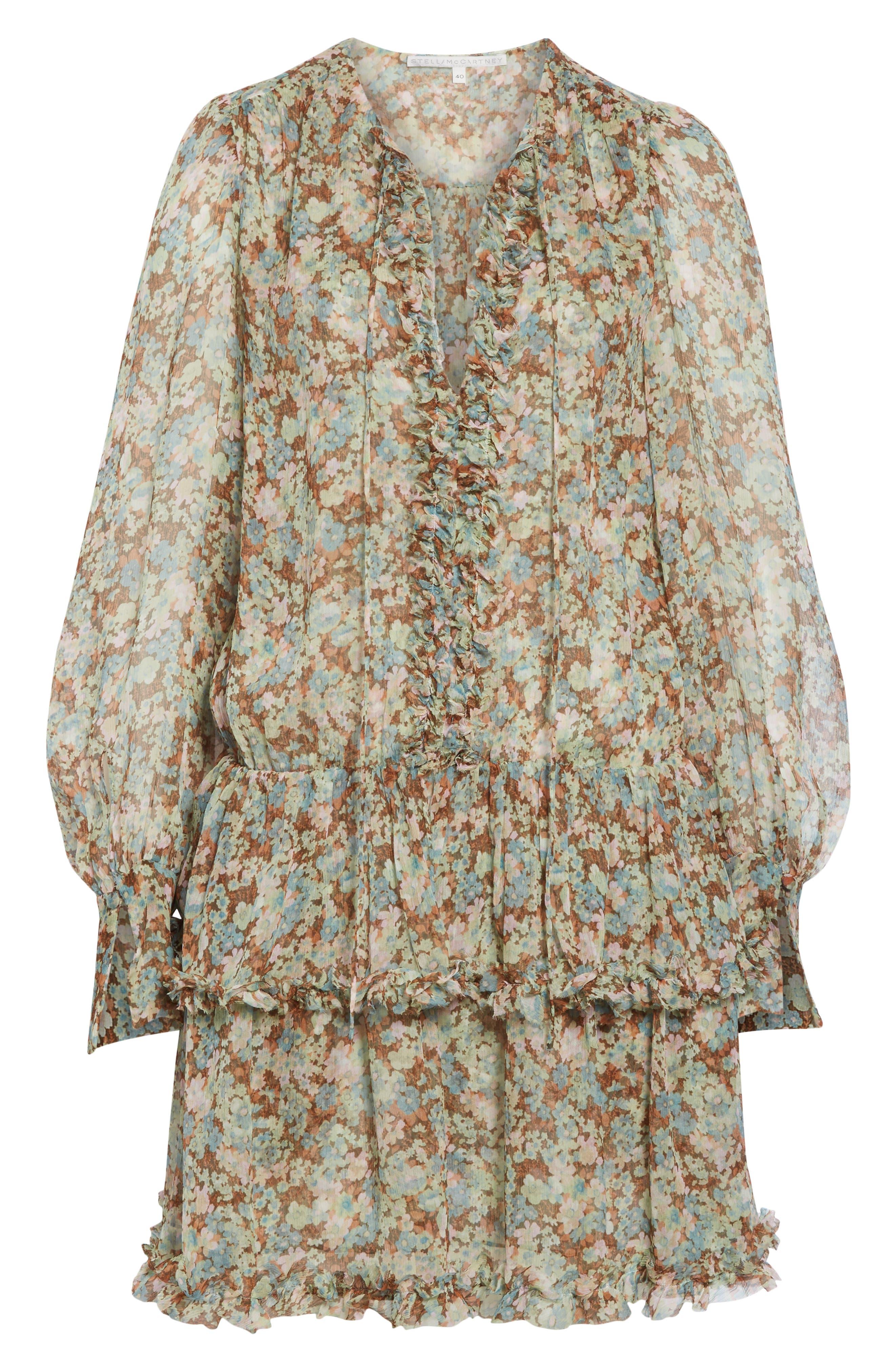 ,                             Meadow Floral Print Silk Dress,                             Alternate thumbnail 7, color,                             MULTICOLOUR