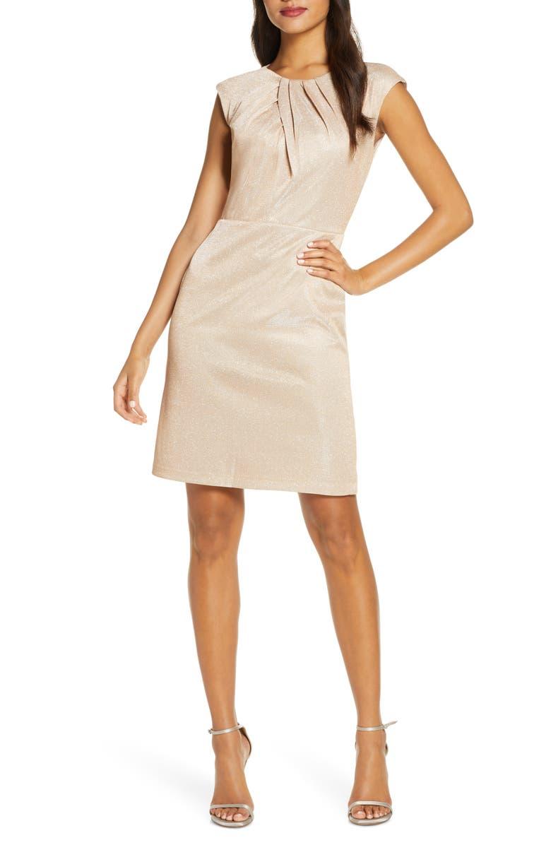 DONNA RICCO Metallic Knit Cap Sleeve Dress, Main, color, GOLD