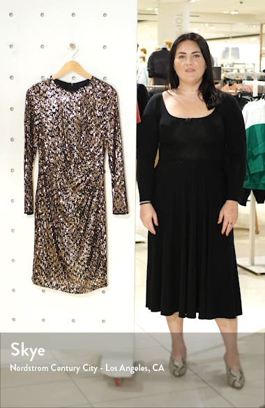 Sequin Long Sleeve Dress, sales video thumbnail