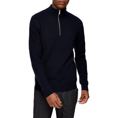 Topman Half Zip Mock Neck Sweater