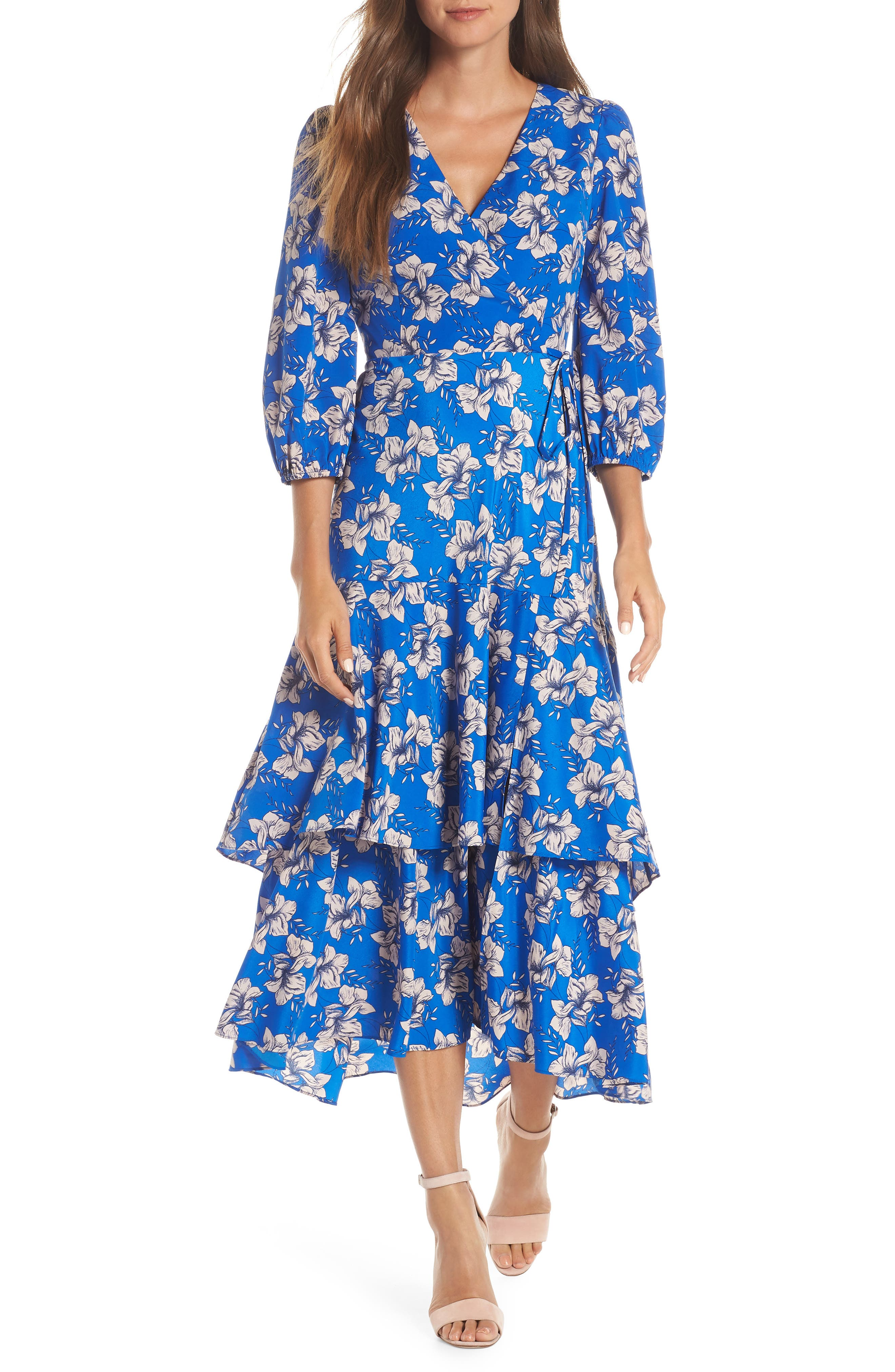 Faux Wrap Maxi Dress, Main, color, BLUE