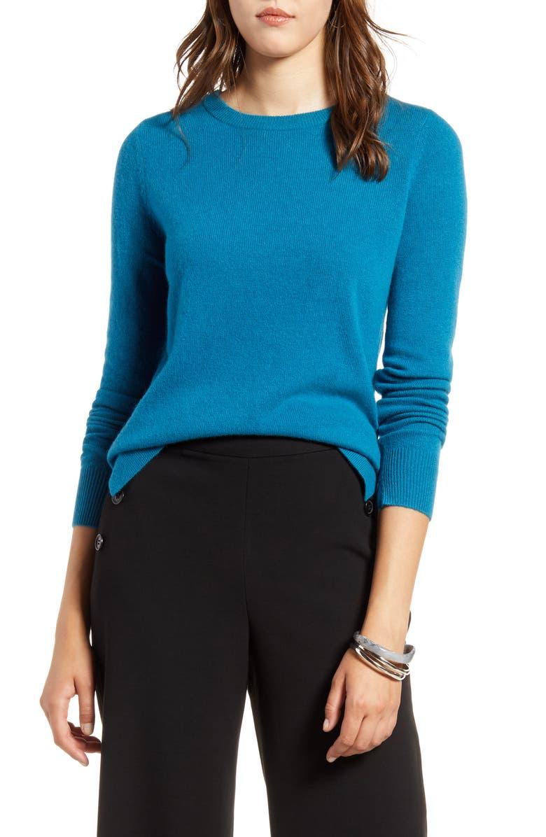 HALOGEN<SUP>®</SUP> Crewneck Cashmere Sweater, Main, color, TEAL