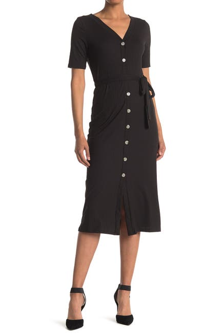 Image of Dual Nature Short Sleeve Rib Knit Button Front Midi Dress