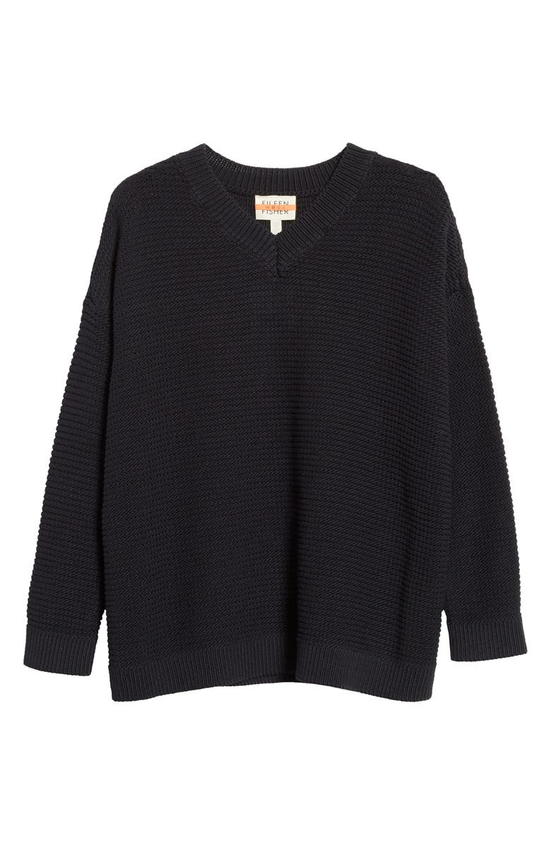 EILEEN FISHER Organic Cotton Blend V-Neck Sweater, Main, color, 001
