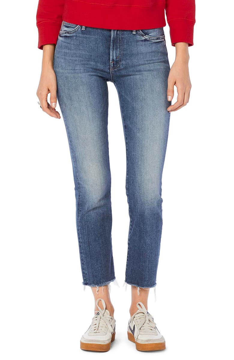 MOTHER The Rascal Crop Fray Hem Jeans, Main, color, HOP ON HOP OFF