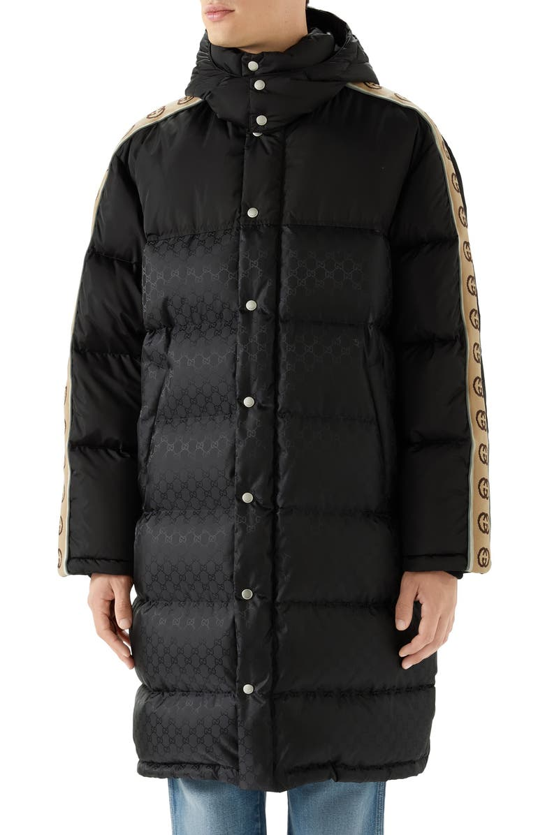 GUCCI GG Jacquard Nylon Coat, Main, color, BLACK