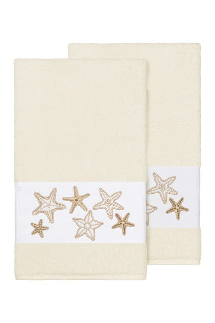 Image of LINUM HOME Lydia Embellished Bath Towel - Set of 2 - Cream