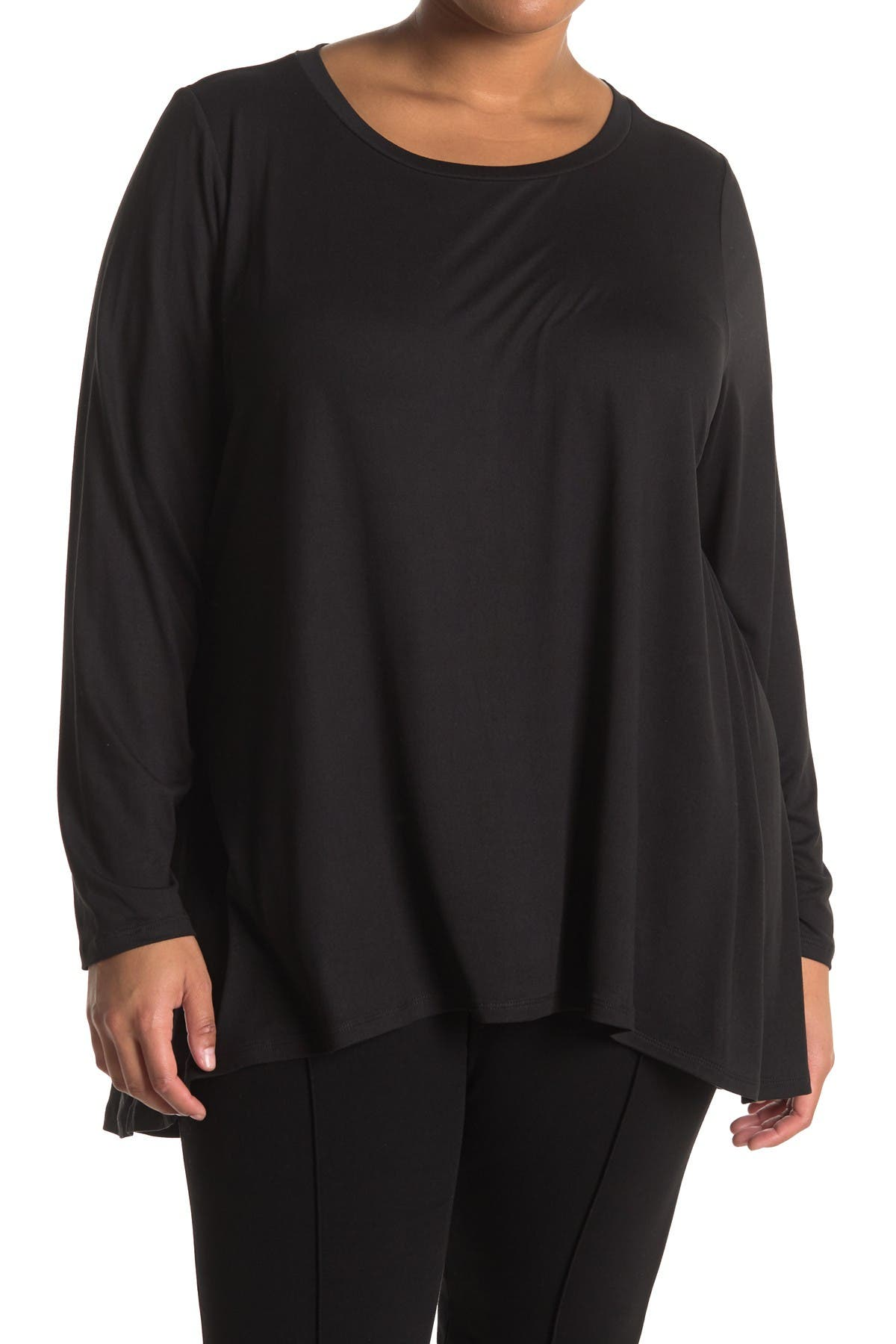 Image of Bobeau Pleat Back High/Low Butter Knit Top
