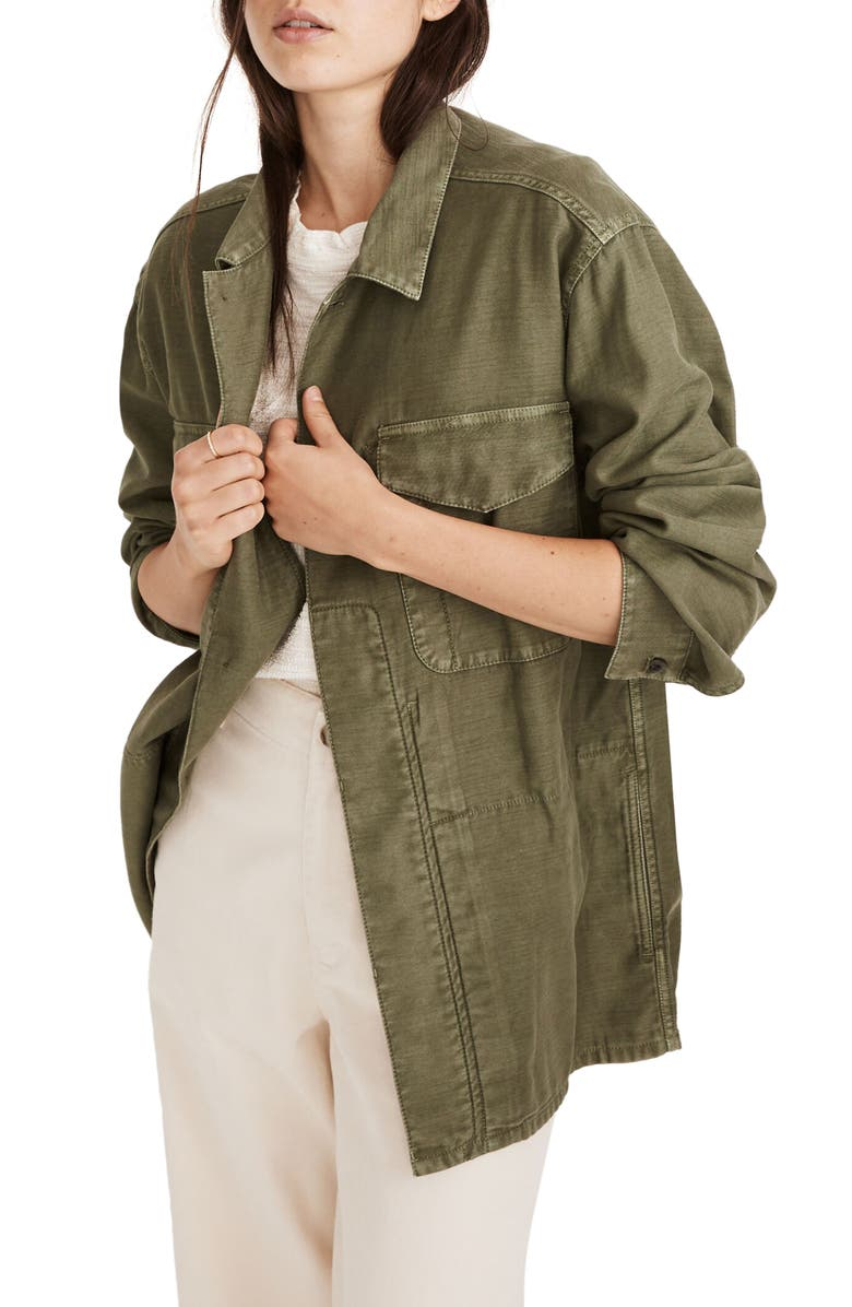 MADEWELL Military Shirt Jacket, Main, color, DRIED CLOVER
