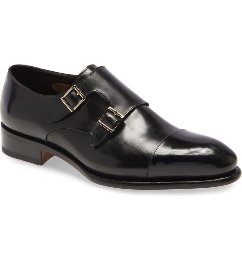 SANTONI IRA Double Monk Strap Shoe, Main, color, 001