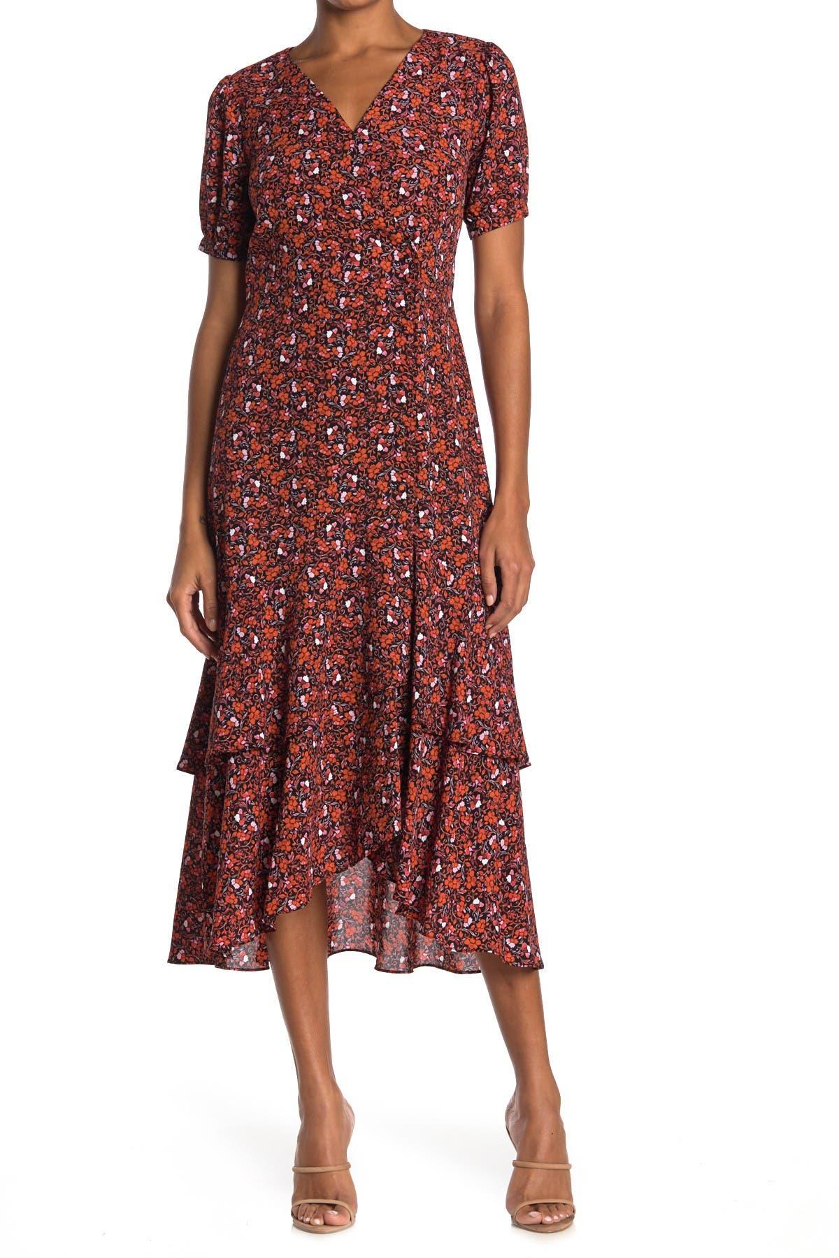 Image of NANETTE nanette lepore Floral Puff Sleeve Wrap Dress