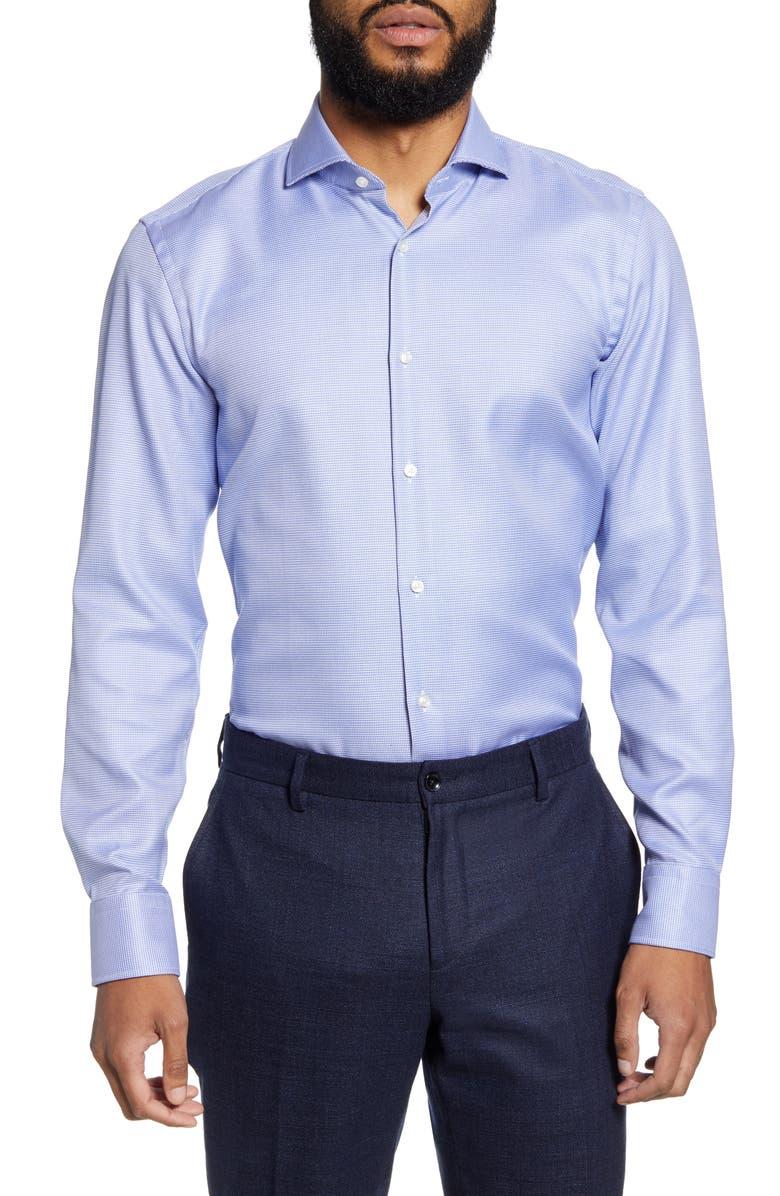 BOSS Slim Fit Micro Print Dress Shirt, Main, color, BRIGHT BLUE