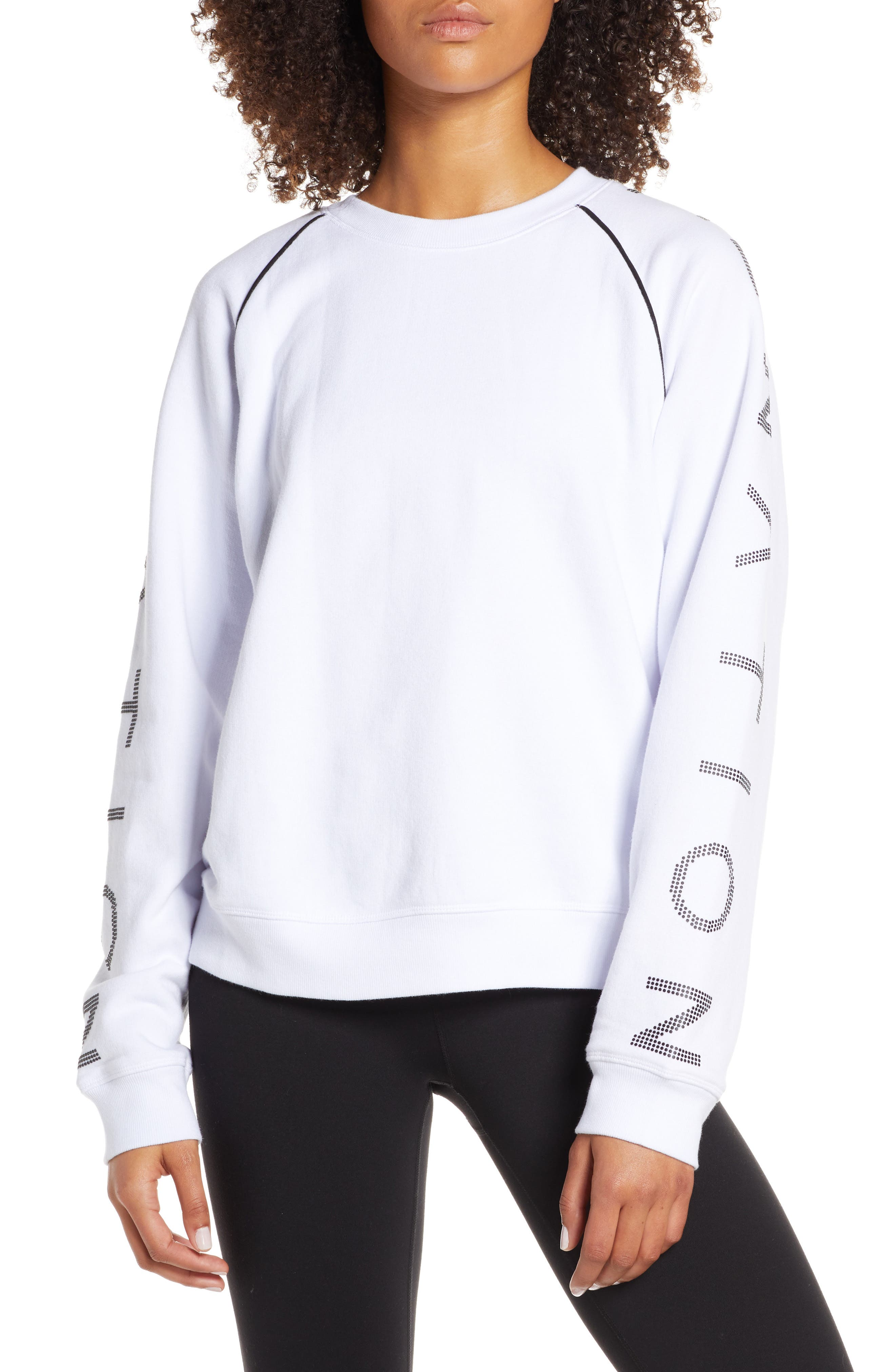 Highline Sweatshirt, Main, color, WHITE/ BLACK