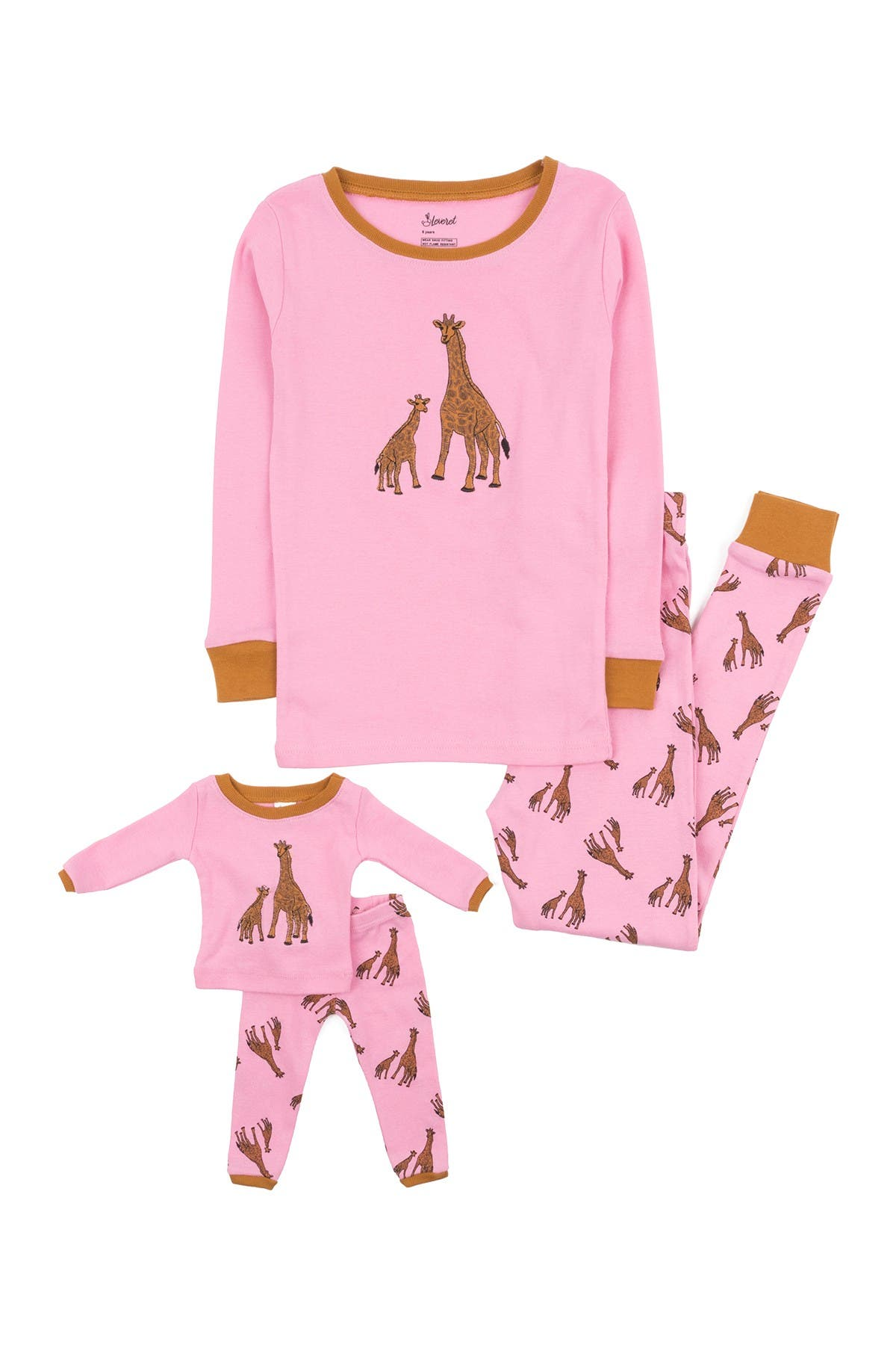 Image of Leveret Giraffe Pajama & Matching Doll Pajama Set