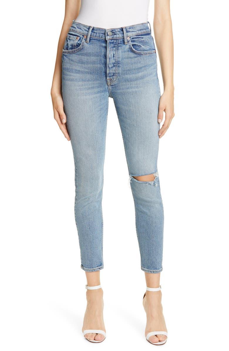 GRLFRND Karolina Ripped High Waist Skinny Jeans, Main, color, CROSS YOUR MIND