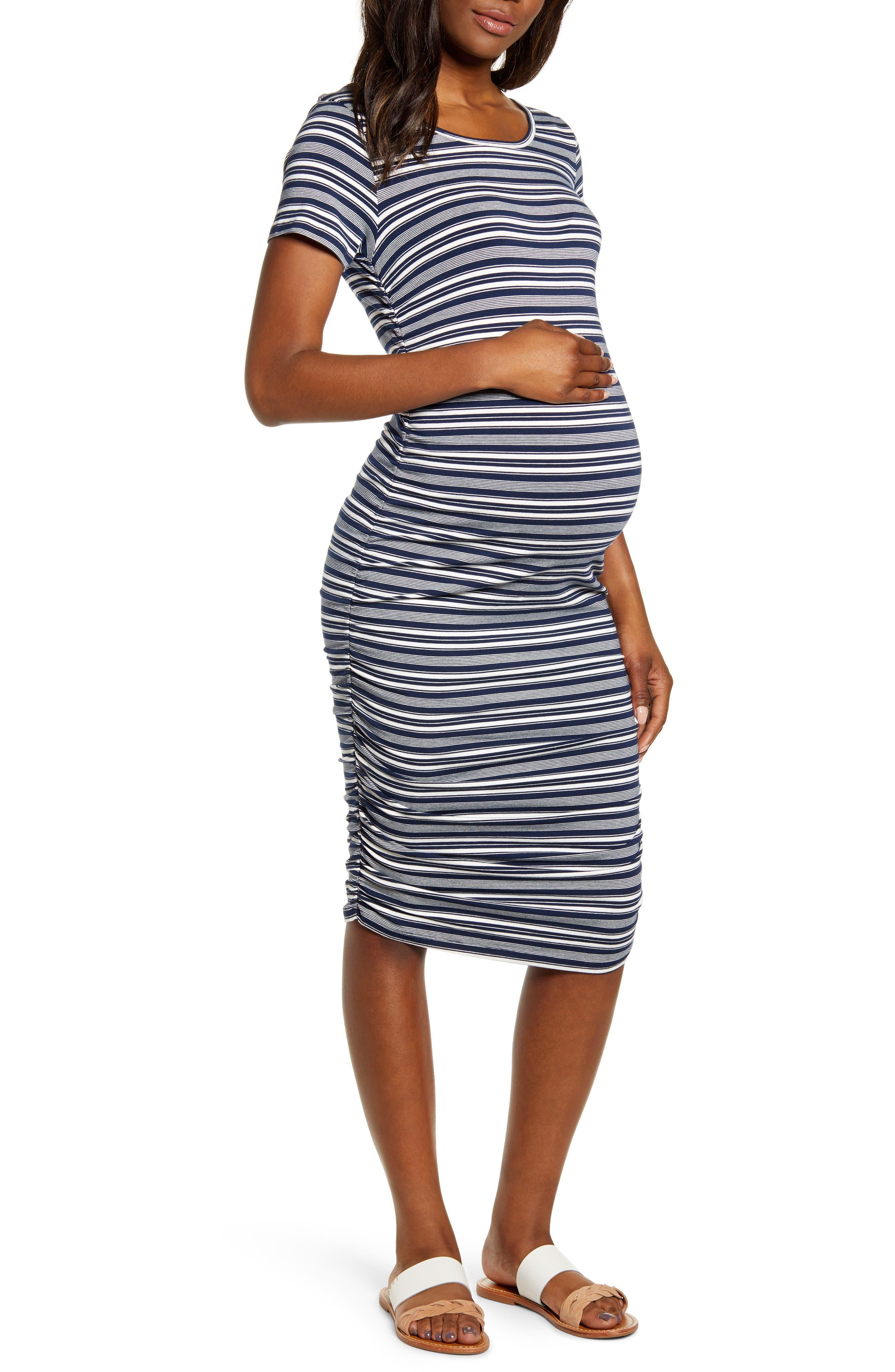 Angel Maternity Print Short Sleeve Body-Con Maternity Dress, Blue