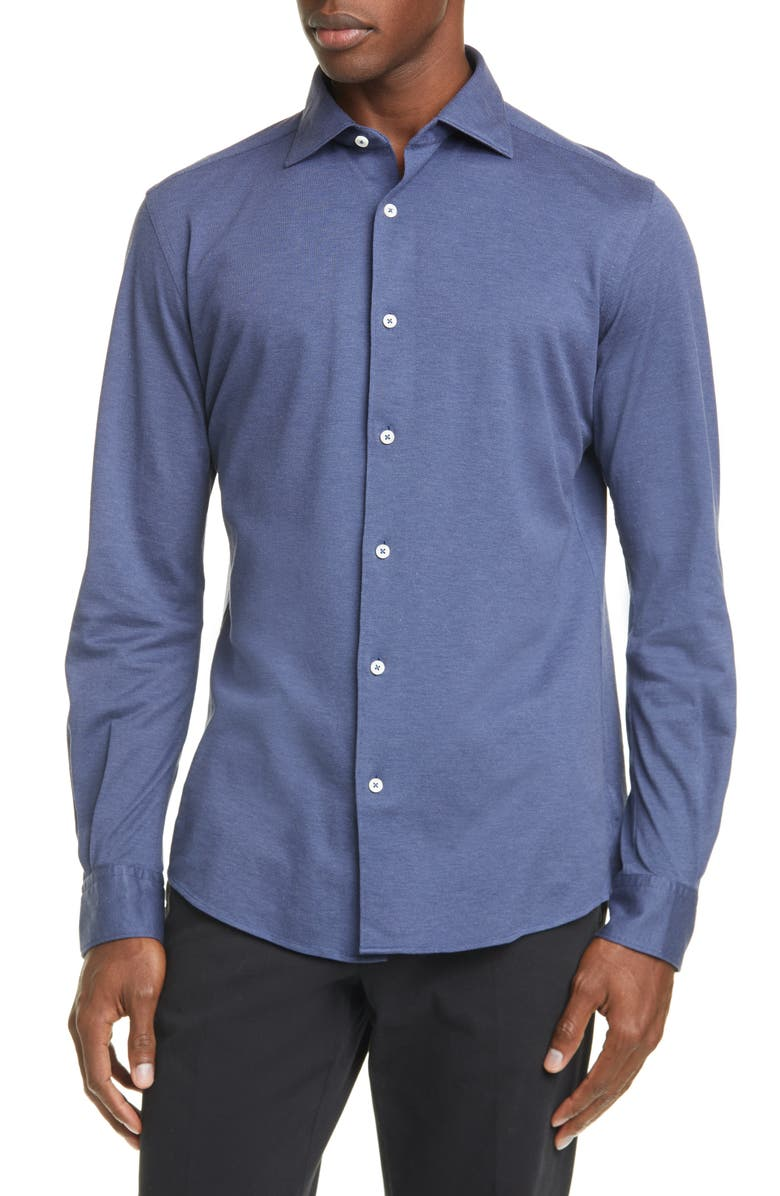 ERMENEGILDO ZEGNA Classic Fit Piqué Cotton Button-Up Shirt, Main, color, 402