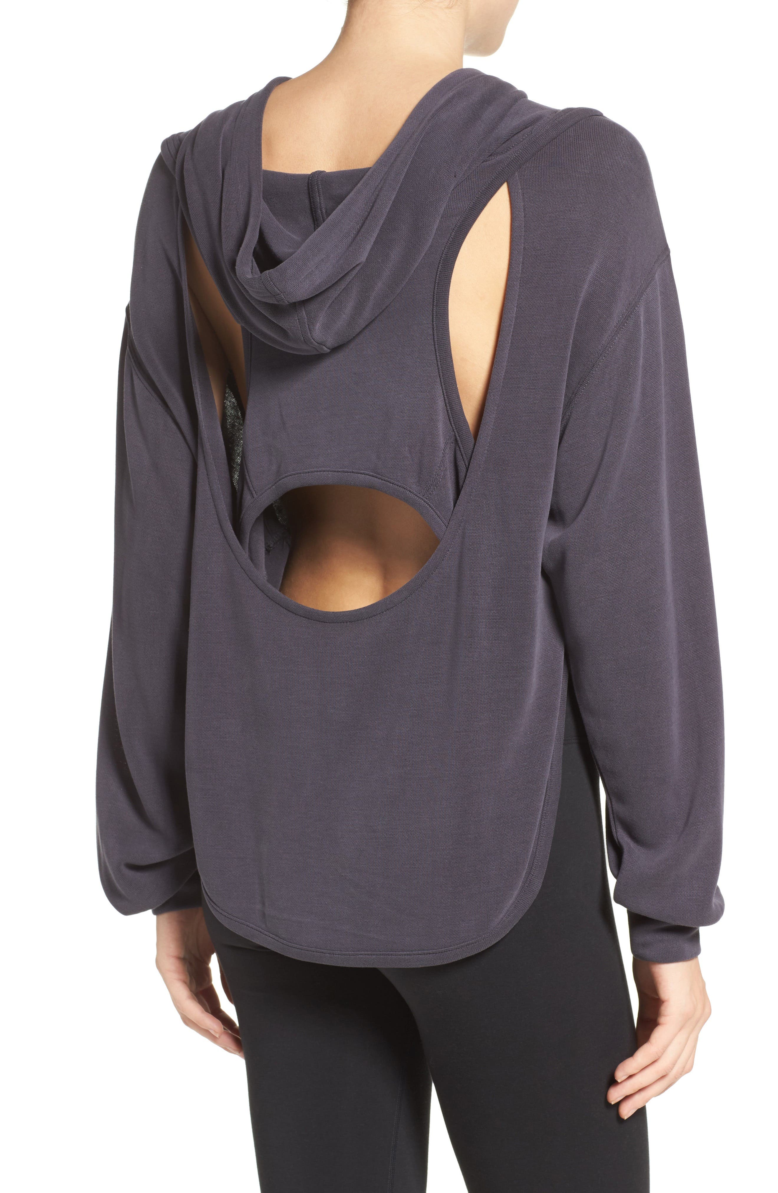 ,                             Back Into It Cutout Hoodie,                             Alternate thumbnail 18, color,                             001